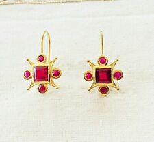 Fascinating Ruby Vermeil 14k Gold Over Sterling Silver Earring