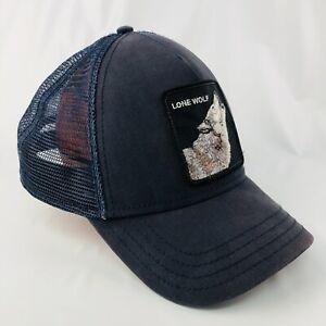 Goorin Bros Navy LONE WOLF Snapback Trucker Hat Animal Farm Cap Original