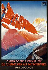 Affiche chemin de fer PLM - Chamonix Montenvers