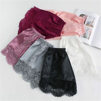 Lady Lace Pettipants Slip Faux Silk Satin Bloomer Shorts Safety Pants Underwear