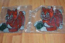 2 CAT KITTEN Suncatchers Stained Glass Suction Cup Window Decoration Lead Frame
