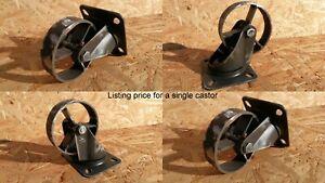 Industrial furniture swivel metal castors casters wheels vintage 7,6 cm old