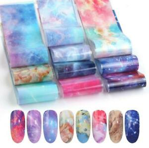 10X Pearl 5 styles Marble 3D Nail Art Foil Transfer Stickers decal Decoration UK