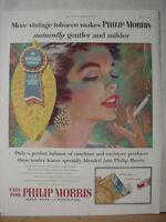 1955 Philip Morris Vintage Tobacco Cigarettes Full Color Vintage Print Ad 10515