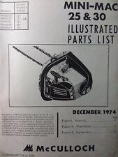 Mcculloch Chain Saw Mini Mac 25 Amp 30 Parts Manual 2 Cycle Gasoline Chainsaw 1974