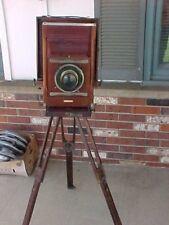 Antique CONLEY  Folding Camera W/ Lens Wood & Brass & Tripod  June 14  1910