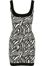 NWT Herve Leger Harley Arley Black and White Jacquard Bandage Dress Sz M $1,590