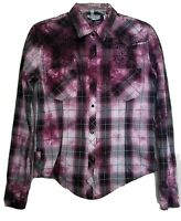Rock & Roll Cowgirl Womens Sz M Embroidered Plaid Pink Black Tie Dye Snap Shirt