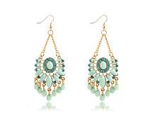 Statement Bohemia Style Blue  Turquoise Long Drop Stud Women Earrings E1222