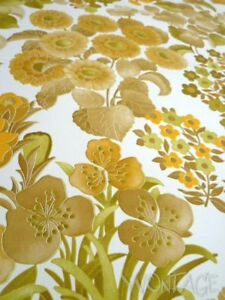 Tapete Wandtapete FRANKREICH original 70er Blumen gelb floral GePe Sondermaß