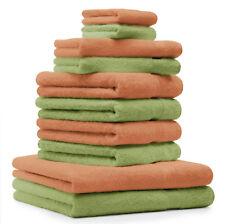 """Lot de 10 serviettes """"Premium"""" vert pomme et orange, 2 serviettes de bain, 4 ser"""