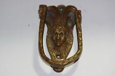 Vintage Brass Door Knocker Horned Devil Head Figural Belgium