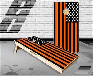 American Flag Black and Orange Cornhole Boards Bean Bag Toss Game