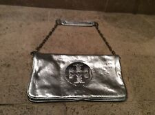 TORY BURCH GENUINE SILVER LEATHER CLUTCH BAG WITH CHAIN