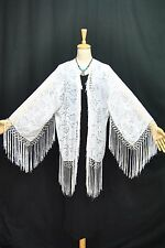 White Burnout Velvet Eastern Fringe Hippie Boho Gypsy Kimono Duster Jacket