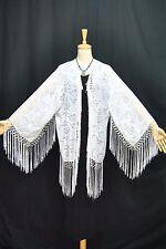 White Burnout Velvet Eastern Fringe Hippie Boho Gypsy Kimono Duster Jacket