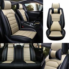 Car Wearproof PU Leather Seat Covers 5-seats Front Rear Cushion Pillow 4 Seasons
