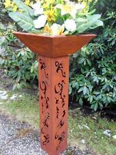 colonne avec bol H.95 Coupe à fleurs de plantation Seau rouille métal patine