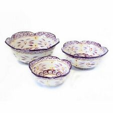 Temp-tations Old World Set of 3 Floral Serving Mixing Bowls - Eggplant