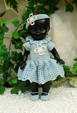 Vieja muñeca chica negro azul claro vestido de punto 22 cm Doll Vintage