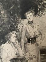 Humbert gravure eau forte etching Portrait De Femme Au Chapeau Avec Un Chien