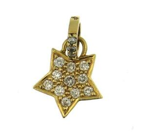Aaron Basha 18k Yellow Gold Pave Diamond Star Charm Pendant $2,200