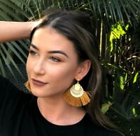 MUSTARD YELLOW LIGHT TRIBAL GOLD GYPSY HOOP FRINGE TASSLE TASSEL EARRINGS