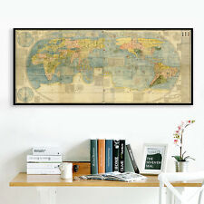 Antique Japanese Chinese Geographic World Map Silk Canvas Poster Art Unframed 84
