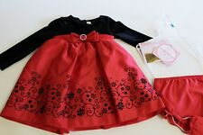 Youngland Dress Size 24 Months Black Velour Red Christmas Retail $40.00 NEW