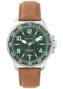 Nautica Men's 'PILOT HOUSE' Quartz Stainless Steel Leather Watch - NAPPLH001