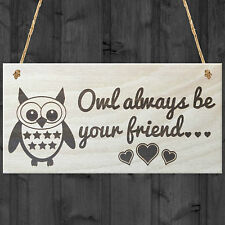 Owl Always Be Your Friend Novelty Friendship Cute Hanging Wood Plaque Gift Sign