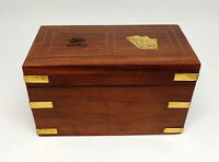 Vintage Wooden Playing Cards Box Wipro Wood Hinged Chest Brass Inlay Details