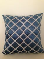 """Royal Blue Silver Diamond Stitch Suede Velvet Look Soft Pillow Cushion Cover 18"""""""