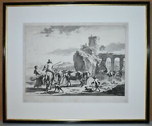 Listed Dutch Artist Nicholas Claes Berghem, Original Etching Old Master