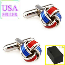 Hot Sale Men Cufflinks Red & Blue Metal Knots Cuff Links With Gift Box