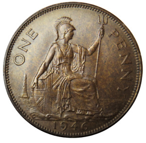 1946 King George VI One Penny Coin - Great Britain - Unc