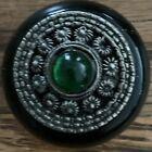 Vintage+EMERALD+Ornate+Stone+Glass+TRINKET+PILL+BOX+Filigree+Metal+Hinged+Lid