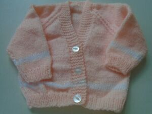 """New Hand Knitted Peach/White Cardigan 18/20"""" chest  (6/12 months)"""