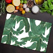 Glass Kitchen Chopping Cutting Board Banana Paradise leaves Watercolour 80x52