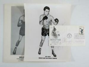 (3) Vintage Boxing Hall of Famer Autographed Items