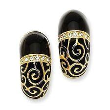 Camrose & Kross Jacqueline Kennedy Parisian Love Black J-Hoop Pierced Earrings
