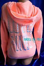 Victorias Secret PINK Hoodie Large L Neon Orange Peach Hologram Foil Bling Zip