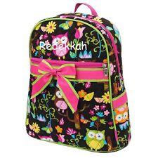 Backpack Personalized Monogrammed Diaper Bag Dance Gym Bag Owl Print Hot Pink