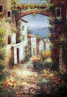 Italian Beach Town Adriatic Village Flowers Large Tall Oil Painting STRETCHED