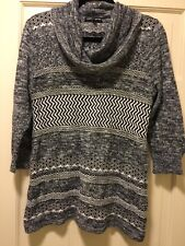 Cable And Gauge Size XL Gray Black White Women's Slouchy Sweater Long Sleeve