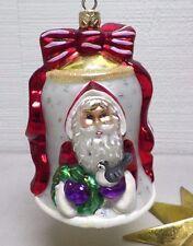 "Vintage Christopher Radko Ornament Nick O Bell Santa White Red 4 1/2"" Euc"