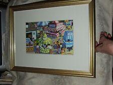 C Harvey Print THE COUNTRY FAIR Colorful Old Time County Fair Gilt Frame Glass