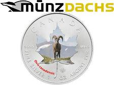$5 Dollar Maple Leaf Bighorn Sheep Wildlife fine silver Canada 2014 coloured