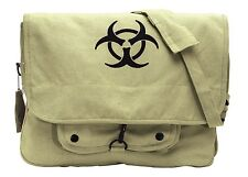 Rothco 9139 Vintage Canvas Paratrooper Bag with Bio-Hazard Symbol - Khaki