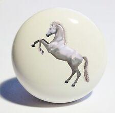 REARING WHITE HORSE HOME DECOR CERAMIC KITCHEN  KNOB DRAWER CABINET PULL